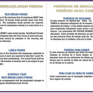 California Rest Break Lunch Period Notice Bilingual